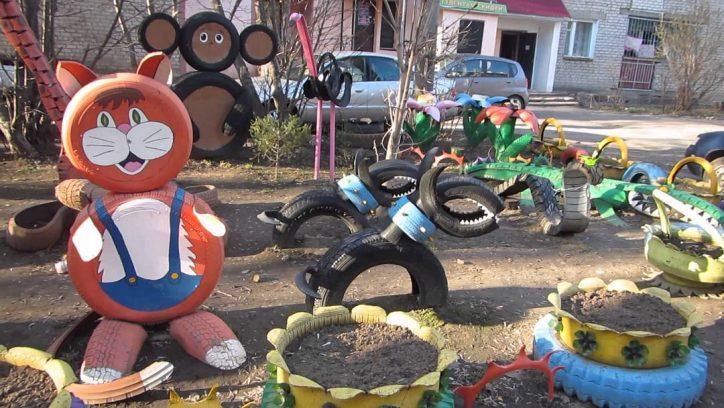 Plac zabaw dla dzieci z opon