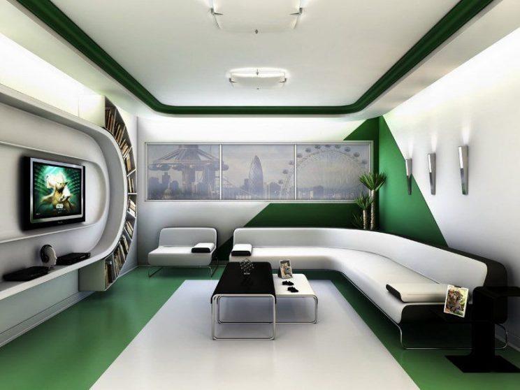 zielony kosmiczny salon